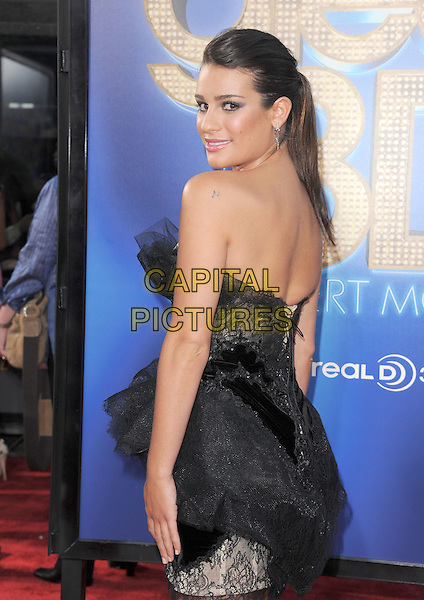 Lea Michele.attends The 20th Century Fox 'Glee 3D' Concert World Movie Premiere held at The Regency Village theatre in Westwood, California, USA, .August 6th 2011..half length ponytail  dress strapless black make-up beauty hair up  eyelashes tulle  silver earrings lace tiered ruffles side back rear behind over shoulder profile hair up ponytail .CAP/RKE/DVS.©DVS/RockinExposures/Capital Pictures.