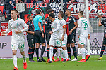 17.03.2019, BayArena, Leverkusen, GER, 1. FBL, Bayer 04 Leverkusen vs. SV Werder Bremen,<br />  <br /> DFL regulations prohibit any use of photographs as image sequences and/or quasi-video<br /> <br /> im Bild / picture shows: <br /> Diskussionen mit Schiedsrichter / referee Deniz Aytekin (SR) um ein Tor Theodor Gebre Selassie (Werder Bremen #23), Maximilian Eggestein (Werder Bremen #35), Max Kruse (Werder Bremen #10), ä#äl9#Kai Havertz (Leverkusen #29),  Jonathan Tah (Leverkusen #4), <br /> <br /> Foto © nordphoto / Meuter