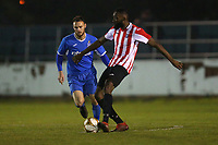 Johnson Santos of Clapton and Martin Tuohy of Redbridge during Redbridge vs Clapton, Essex Senior League Football at Oakside Stadium on 14th November 2017