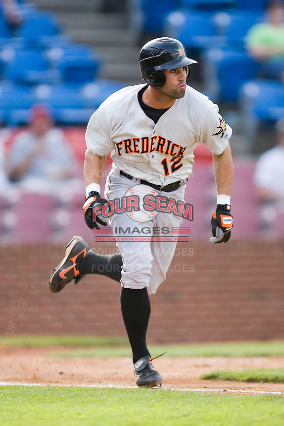 Brandon Tripp (12) of the Frederick Keys hustles down the first base line versus the Winston-Salem Warthogs at Ernie Shore Field in Winston-Salem, NC, Saturday, June 7, 2008.