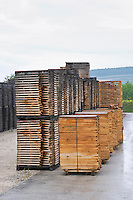 Staves. Drying outside. Cooperage, barrel manufacturing, Cadus, Louis Jadot, Ladoix, Beaune, Burgundy, France