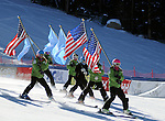 November 29, 2013 - Beaver Creek, Colorado, U.S. -Vail ski team members ski in the flags prior to the ladies downhill competition on Vail/Beaver Creek's new women's Raptor race course, Beaver Creek, Colorado.