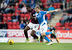 St Johnstone v Hearts&Ouml;17.05.17     SPFL    McDiarmid Park<br /> Arnaud Djoum andf David Wotherspoon<br /> Picture by Graeme Hart.<br /> Copyright Perthshire Picture Agency<br /> Tel: 01738 623350  Mobile: 07990 594431