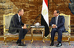 A handout picture made available by the Egyptian Presidency on September 19, 2015, shows Egyptian President Abdel Fattah al-Sisi meets with EU President Donald Tusk in the capital Cairo. Photo by Egyptian President Office