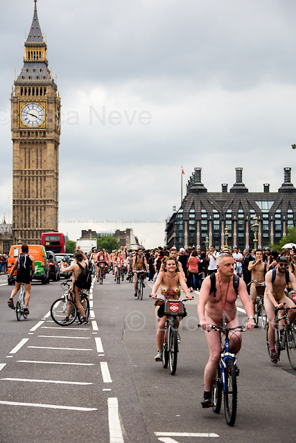 London, 13/06/2015. Today, hundreds of people participated to &ldquo;The London World Naked Bike Ride&rdquo;. From the organisers website: &lt;&lt;The London World Naked Bike Ride is a protest event in London raising awareness of issues such as safety of cyclists on the road, reducing oil dependence and saving the planet. [&hellip;]&gt;&gt;. WARNING: SOME VIEWERS MAY FIND SOME OF THE IMAGES DISTURBING (INCLUDING PRESENCE OF NUDITY).<br />