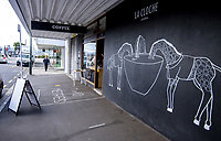 Coffix and La Cloche cafes on Ballance Street at 9am, Friday during Level 3 lockdown for the COVID-19 pandemic in Wellington, New Zealand on Friday, 1 May 2020. Photo: Dave Lintott / lintottphoto.co.nz