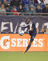 New England Revolution midfielder Sainey Nyassi (17) passes the ball. In a Major League Soccer (MLS) match, the New England Revolution tied the Colorado Rapids, 0-0, at Gillette Stadium on May 7, 2011.