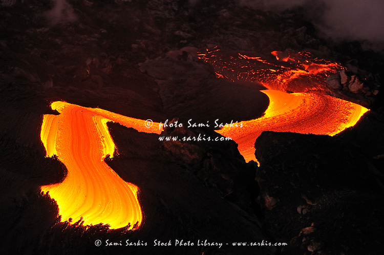 River of molten lava flowing to the sea, close-up, Kilauea Volcano, Hawaii Islands, United States