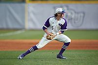 High Point Panthers third baseman Trent Harris (5) on defense against the Campbell Camels at Williard Stadium on March 16, 2019 in  Winston-Salem, North Carolina. The Camels defeated the Panthers 13-8. (Brian Westerholt/Four Seam Images)