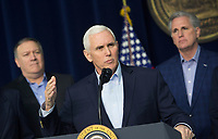 United States Vice President Mike Pence speaks at Camp David, the presidential retreat near Thurmont, Maryland, after participating in meetings with US President Donald J. Trump, members of his Cabinet and Republican members of Congress to discuss the Republican legislative agenda for 2018 on January 6, 2018.  Mike Pompeo, Director, Central Intelligence Agency (CIA);  Vice President Pence; US House Majority Leader Kevin McCarthy (Republican of California).<br /> CAP/MPI/RS<br /> &copy;RS/MPI/Capital Pictures