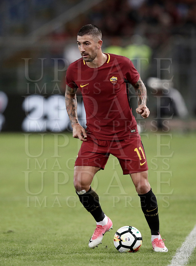 Calcio, Serie A: Roma, stadio Olimpico, 25 ottobre 2017.<br /> Roma's Aleksandar Kolarov in action with during the Italian Serie A football match between AS Roma and Crotone at Rome's Olympic stadium, October 25, 2017.<br /> UPDATE IMAGES PRESS/Isabella Bonotto