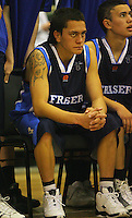 Ezra Nikora contains his emotions during the final timeout during the NZ Secondary Schools Basketball Championships match between Fraser High School and St Patricks College at Arena Manawatu, Palmerston North, New Zealand on Saturday 4 October 2008. Photo: Dave Lintott / lintottphoto.co.nz