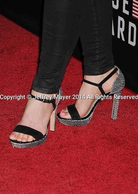 LOS ANGELES, CA- FEBRUARY 13: Actress Joelle Carter (shoe detail) at the 'House Of Cards' Season 2 special screening at Directors Guild Of America on February 13, 2014 in Los Angeles, California.