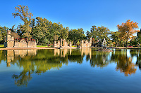 Pond with ruins and three tiered fountain at Tower Grove Park in Saint Louis, MO.