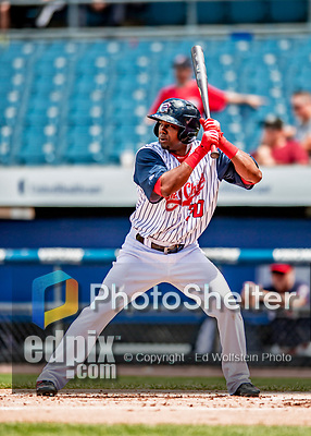 22 July 2018: Syracuse SkyChiefs outfielder Alejandro De Aza in action against the Louisville Bats at NBT Bank Stadium in Syracuse, NY. The Bats defeated the Chiefs 3-1 in AAA International League play. Mandatory Credit: Ed Wolfstein Photo *** RAW (NEF) Image File Available ***