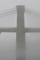 THIS PHOTO IS AVAILABLE EXCLUSIVELY FROM GETTY IMAGES.....Please search for image #200535100-001 on www.gettyimages.com.....Brooklyn Bridge in the Fog, New York City, New York State, USA