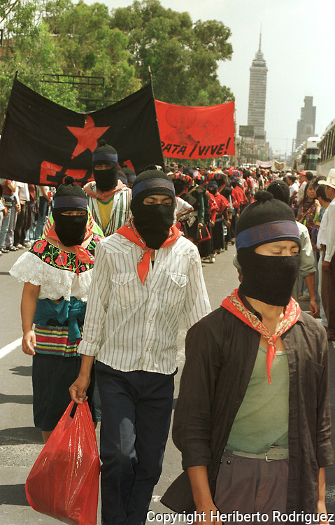 Zapatista Indian peasants march at a rally in Mexico City main thoroughfare, September 13, 1997. 1,111 Zapatista peasants spread out all over Mexico demanding for their rights after leaving their stronghold in Chiapas. Photo by Heriberto Rodriguez