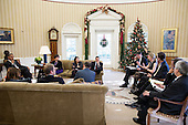 United States President Barack Obama meets with senior advisors in the Oval Office, November 29, 2012. Pictured, from left, are: Alyssa Mastromonaco, Deputy Chief of Staff for Operations; Press Secretary Jay Carney; Senior Advisor Valerie Jarrett; Nancy-Ann DeParle, Deputy Chief of Staff for Policy; Director of Communications Dan Pfeiffer; Senior Advisor David Plouffe; Chief of Staff Jack Lew; Kathryn Ruemmler, Counsel to the President; Bruce Reed, Chief of Staff to the Vice President; Mark Childress, Deputy Chief of Staff for Planning; and Pete Rouse, Counselor to the President. .Mandatory Credit: Pete Souza - White House via CNP