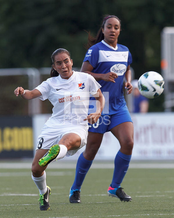 Sky Blue FC forward Monica Ocampo (8) flicks a shot on net. In a National Women's Soccer League (NWSL) match, Boston Breakers (blue) defeated Sky Blue FC (white), 3-2, at Dilboy Stadium on June 30, 2013.