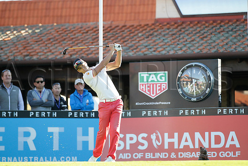 25.02.2016. Perth, Australia. ISPS HANDA Perth International Golf. Borja Virto Astudillo (ESP) hits his first shot for the tournament on tee 1 day 1.