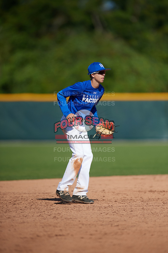 Joshua Mueller (17), from Stamford, Texas, while playing for the Dodgers during the Baseball Factory Pirate City Christmas Camp & Tournament on December 30, 2017 at Pirate City in Bradenton, Florida.  (Mike Janes/Four Seam Images)