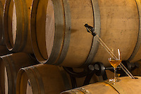 Europe, France, Aquitaine, Pyrénées-Atlantiques, Béarn, Jurançon: Domaine  Larredya: cave à barriques // Europe, France, Aquitaine, Pyrenees Atlantiques, Bearn, Jurançon: Camin Larredya domain, barrel cellar