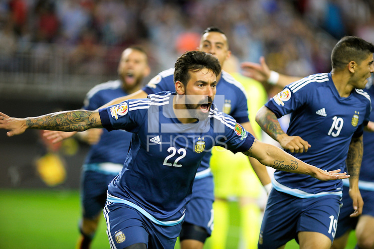 Action photo during the match Unitred States vs Argentina, Corresponding to the Semifinals of the America Cup Centenary 2016 at NRG Stadium.<br /> <br /> Foto  de accion durante el partido Estados Unidos vs Argentina, Correspondiente a la Semifinal de la Copa America Centenario 2016, en el Estadio NRG, en la foto: Ezequiel Lavezzi celebra su gol de Argentina<br /> <br /> <br /> 21/06/2016/MEXSPORT/PHOTOGAMMA/Javier Gonzalez.
