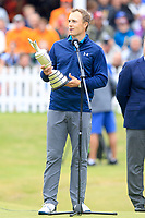Jordan Spieth (USA) with the claret jug after the final round of The Open Championship 146th Royal Birkdale, Southport, England. 23/07/2017.<br /> Picture Fran Caffrey / Golffile.ie<br /> <br /> All photo usage must carry mandatory copyright credit (&copy; Golffile | Fran Caffrey)