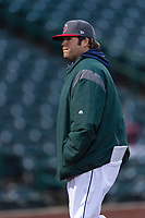 Fort Wayne TinCaps pitching coach Matt Williams (29) walks off the field after visiting the mound during a Midwest League game against the Fort Wayne TinCaps at Parkview Field on April 30, 2019 in Fort Wayne, Indiana. Kane County defeated Fort Wayne 7-4. (Zachary Lucy/Four Seam Images)