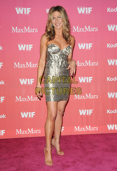 JENNIFER ANISTON .at The Women in Film 2009 Crystal .and Lucy Awards held at The Hyatt Regency Century Plaza in Century City, California, USA, June 12th 2009                                                                     .full length dress gold silver metallic shiny bustier cleavage strapless beige nude ankle strap sandals .CAP/DVS.©Debbie VanStory/RockinExposures/Capital Pictures