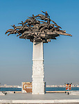Republic Tree Monument. Sculpture of Horsemen at Kordon Promenade, Izmir, Turkey