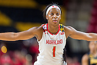 College Park, MD - DEC 6, 2016: Maryland Terrapins guard Ieshia Small (1) gets back on defense during game between Towson and Maryland at XFINITY Center in College Park, MD. The Terps defeated the Tigers 97-63. (Photo by Phil Peters/Media Images International)