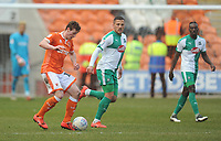 Blackpool's Matthew Virtue under pressure from Plymouth Argyle's Antoni Sarcevic<br /> <br /> Photographer Kevin Barnes/CameraSport<br /> <br /> The EFL Sky Bet League One - Blackpool v Plymouth Argyle - Saturday 30th March 2019 - Bloomfield Road - Blackpool<br /> <br /> World Copyright © 2019 CameraSport. All rights reserved. 43 Linden Ave. Countesthorpe. Leicester. England. LE8 5PG - Tel: +44 (0) 116 277 4147 - admin@camerasport.com - www.camerasport.com