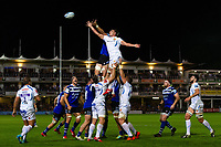 Sam Skinner of Exeter Chiefs competes for the ball at a lineout. Gallagher Premiership match, between Bath Rugby and Exeter Chiefs on October 5, 2018 at the Recreation Ground in Bath, England. Photo by: Patrick Khachfe / Onside Images
