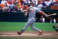 SAN FRANCISCO, CA - Mark McGwire of the St. Louis Cardinals bats during a game against the San Francisco Giants at Candlestick Park in San Francisco, California in 1999. Photo by Brad Mangin