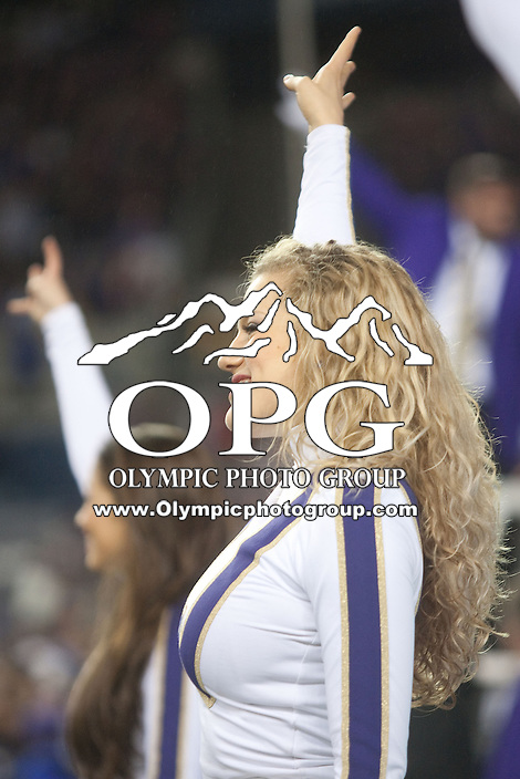 OCT 27, 2012:  Washington cheerleader Hannah Tripp entertained the fans during the game against Oregon State.  Washington won 20-17 over Oregon State at CenturyLink Field in Seattle, WA...