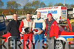 3069-3072.TEAM WORK: Tralee rally team of l-r: Liam Goggin, Tommy Commane (navigator), Ger McCarthy (driver) and Paul Hogan prepare to take part in the Circuit of Kerry car rally last Sunday morning.