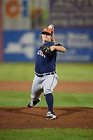 Connecticut Tigers relief pitcher Burris Warner (26) delivers a pitch during a game against the Auburn Doubledays on August 8, 2017 at Falcon Park in Auburn, New York.  Auburn defeated Connecticut 7-4.  (Mike Janes/Four Seam Images)