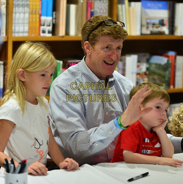 CORAL GABLES, FL - NOVEMBER 01: Patrick Kennedy (C) and family Harper Petitgout and son Owen Kennedy attend discusses and sign copies of his book 'A Common Struggle: A Personal Journey Through The Past And Future Of Mental Illness And Addiction  at Books and Books Gables on November 1, 2015 in Coral Gables, Florida. <br /> CAP/MPI10<br /> &copy;MPI010/Capital Pictures