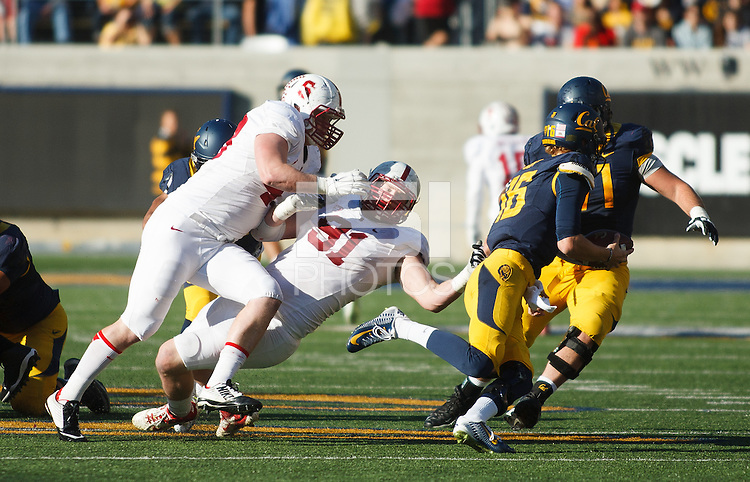 Berkeley- November 22, 2014: Blake Lueders and Henry Anderson during the Stanford vs Cal at Memorial Stadium in Berkeley Saturday afternoon<br /> <br /> The Cardinal defeated the Bears 38 - 17