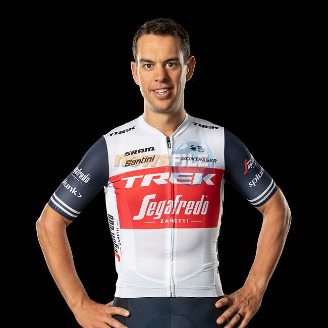 The London Rouleur Classic event provided the venue for today's unveiling of the new Trek-Segafredo men's and women's kits for the upcoming 2020 racing season. Richie Porte (AUS) models the men's kit. Trek-Segafredo also announced that the partnership with Santini would continue for the next three years. 1st November 2019.<br /> Picture: Trek Factory Racing | Cyclefile<br /> <br /> <br /> All photos usage must carry mandatory copyright credit (© Cyclefile | Trek Factory Racing)