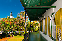 Hemingway House (museum) with Key West Lighthouse Museum in background, Key West, Florida Keys, Florida USA