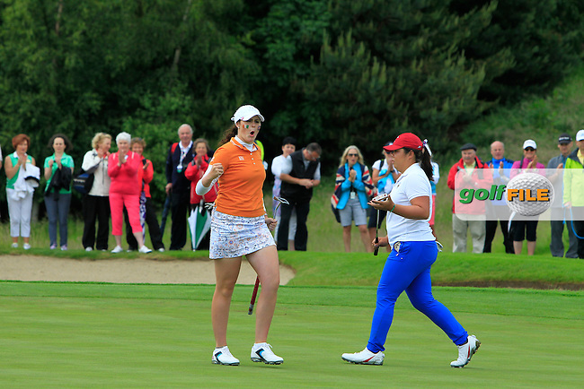 Olivia Mehaffey puts on the 9th during the Saturday Afternoon Fourballs of the 2016 Curtis Cup at Dun Laoghaire Golf Club on Saturday 11th June 2016.<br /> Picture:  Golffile | Thos Caffrey