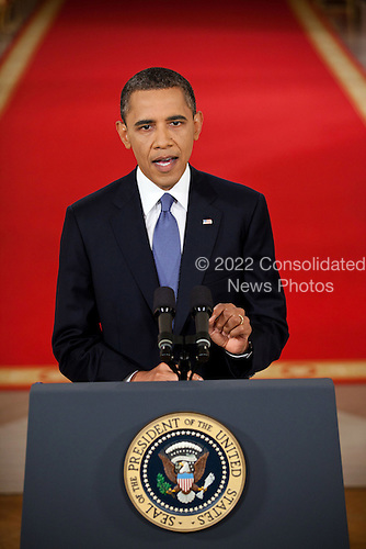 United States President Barack Obama addresses the nation from the East Room of the White House to lay out his plan for implementing the draw down of American troops from Afghanistan, June 22, 2011. .Mandatory Credit: Chuck Kennedy - White House via CNP