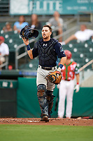Charlotte Stone Crabs catcher Brett Sullivan (8) during a game against the Palm Beach Cardinals on July 22, 2017 at Roger Dean Stadium in Palm Beach, Florida.  Charlotte defeated Palm Beach 5-2.  (Mike Janes/Four Seam Images)