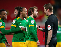 12th February 2020; Bet365 Stadium, Stoke, Staffordshire, England; English Championship Football, Stoke City versus Preston North End; Ben Pearson of Preston North End argues with the referee about the start of an argument