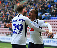 8th February 2020; DW Stadium, Wigan, Greater Manchester, Lancashire, England; English Championship Football, Wigan Athletic versus Preston North End; Tom Barkhuizen of Preston North End  celebrates  with Daniel Johnson of Preston North End after scoring to give his side a 0-1 lead after 7 minutes