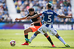 Munir of Valencia CF competes for the ball with Mantovani of Club Deportivo Leganes during their La Liga match between Club Deportivo Leganes and Valencia CF at the Butarque Municipal Stadium on 25 September 2016 in Madrid, Spain. Photo by Diego Gonzalez Souto / Power Sport Images