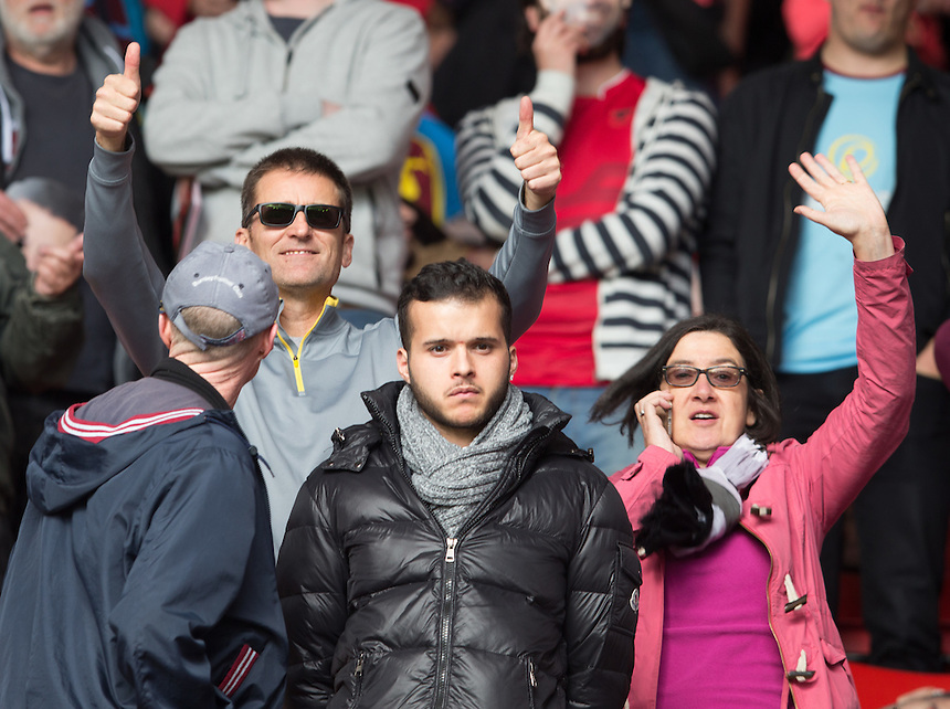 Burnley fans at Southampton<br /> <br /> Photographer James Williamson/CameraSport<br /> <br /> The Premier League - Southampton v Burnley - Sunday 16th October 2016 - St Mary's Stadium - Southampton<br /> <br /> World Copyright &copy; 2016 CameraSport. All rights reserved. 43 Linden Ave. Countesthorpe. Leicester. England. LE8 5PG - Tel: +44 (0) 116 277 4147 - admin@camerasport.com - www.camerasport.com