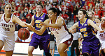 VERMILLION, SD - MARCH 24, 2016 -- Jasmine Trimboli #5 and Margaret McCloud #30 of South Dakota chase a loose ball trailed by Jen Keitel #42 and Madison Weekly #2 of Northern Iowa during their WNIT game Thursday evening at the Dakotadome in Vermillion, S.D.  (Photo by Dick Carlson/Inertia)